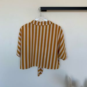 Topshop Tops - Topshop Gold Striped Cropped Tie Shirt Size 12